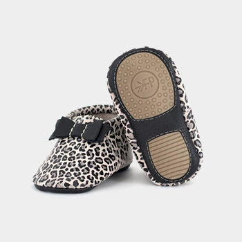 Glossy Leopard Bow Mocc Mini Sole Mini Sole Bow Moccasin mini soles
