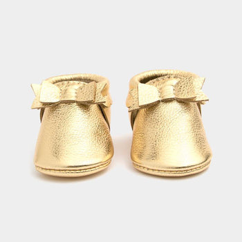 Gold Bow Mocc Bow Moccasins Soft Soles