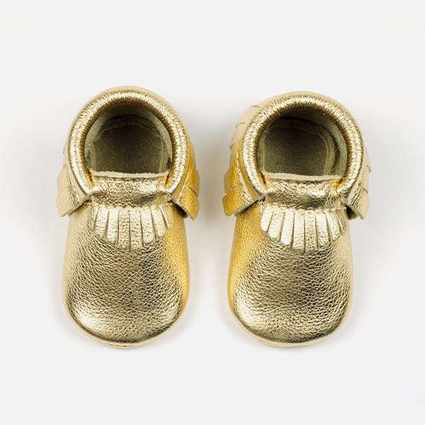 Freshly Picked Soft Sole Leather Baby Moccasins Gold Size 5