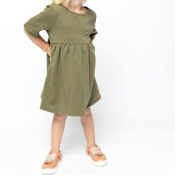 Olive Elbow Sleeve Babydoll Dress Kids - Elbow Sleeve Babydoll Dress Kids Clothing