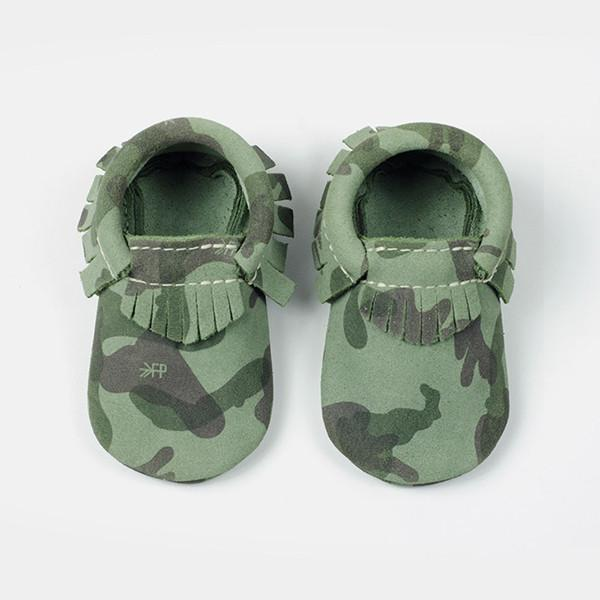 Green Camo Moccasins Soft Soles