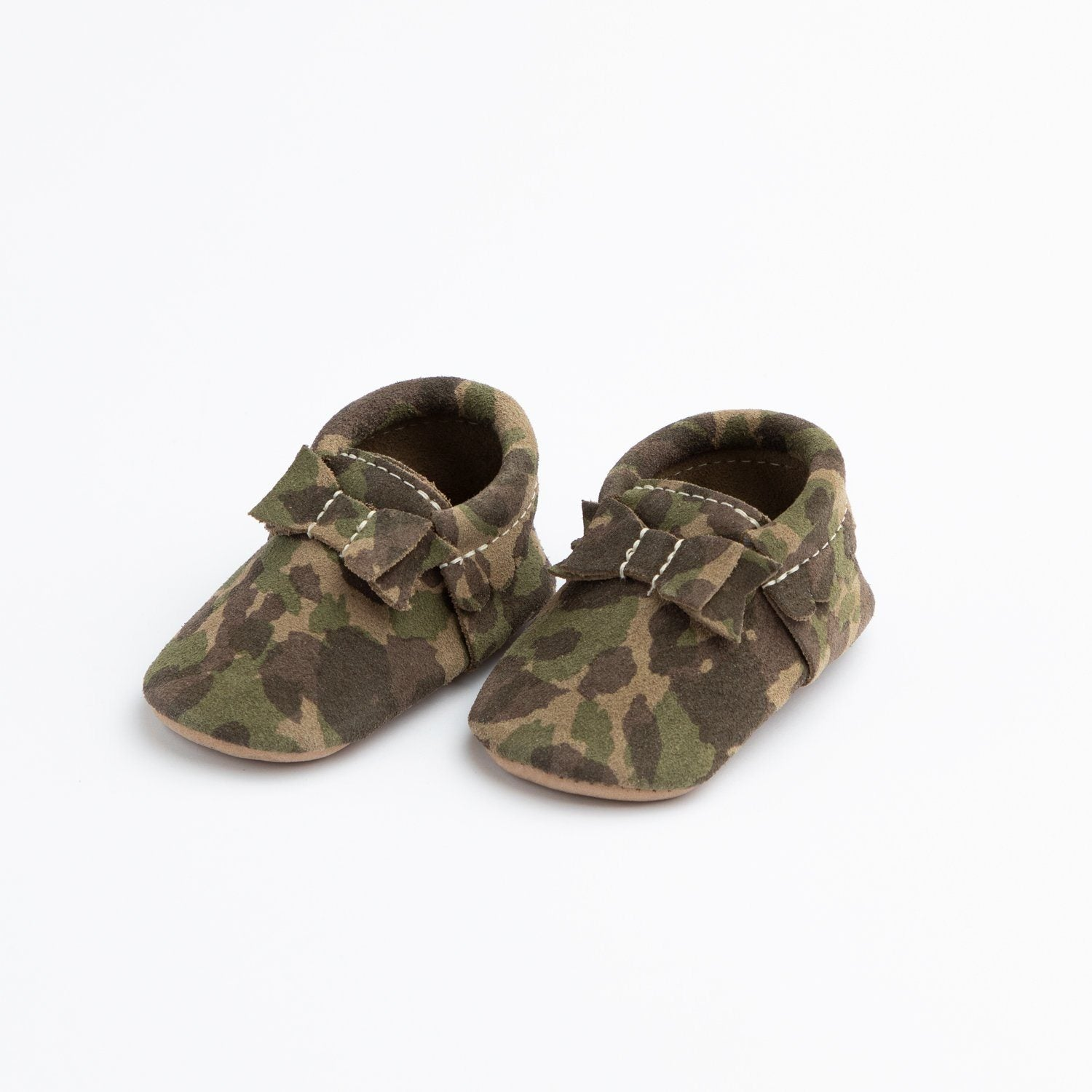 Green Suede Camo Bow Mocc