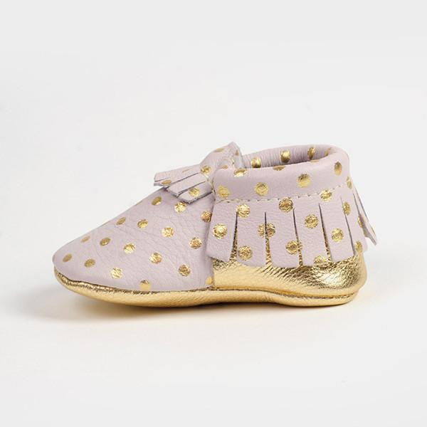 Heirloom in Blush and Gold Moccasins Soft Soles