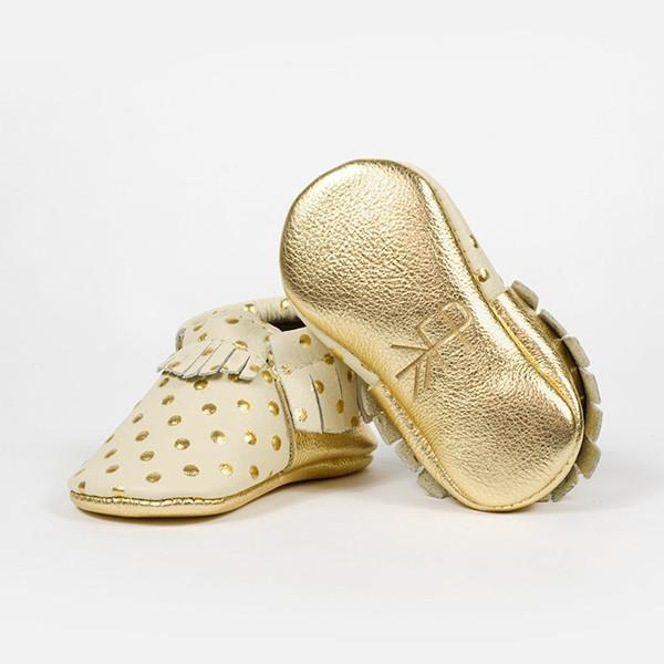 Heirloom in Cream and Gold Moccasins Soft Soles