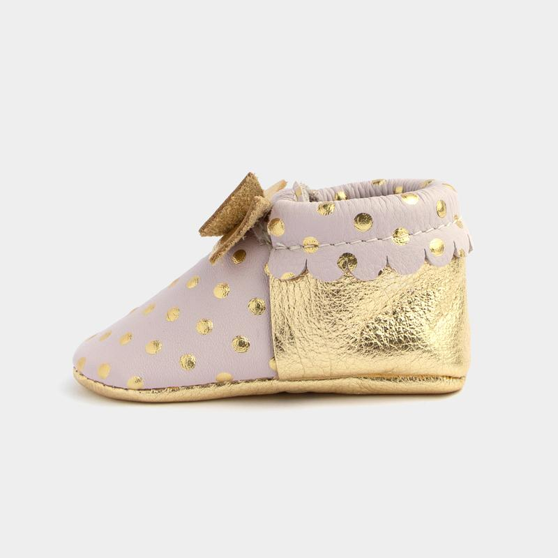 Heirloom Blush & Gold Bow Mocc Bow Moccasins Soft Soles