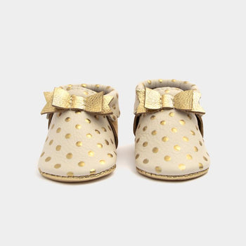 Heirloom Cream & Gold Bow Mocc Bow Moccasins Soft Soles