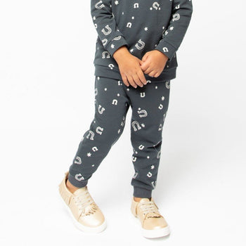 Lucky Horseshoe Printed Banded Bottom Jogger Kids - Jogger Kids Clothing