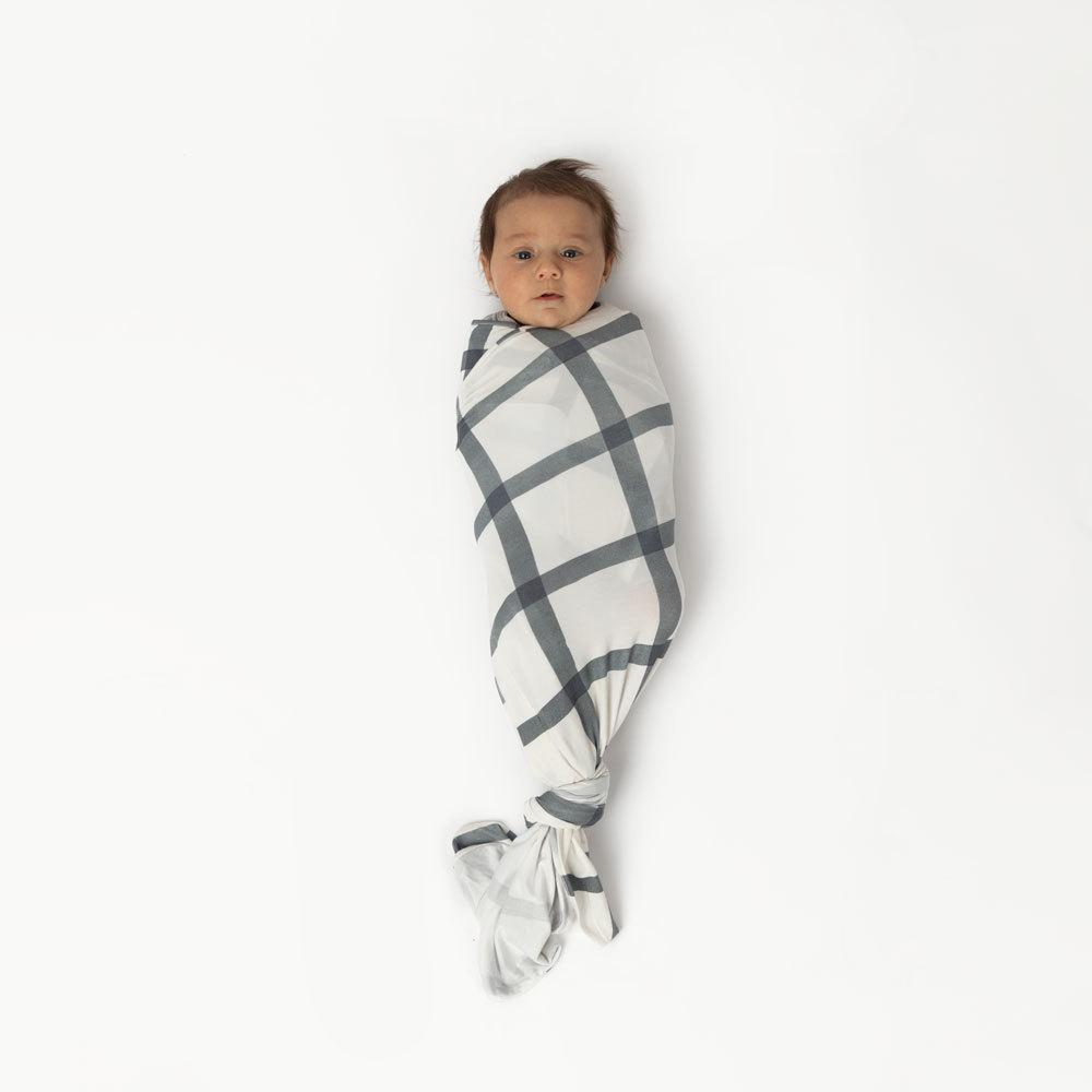 Indigo Windowpane Swaddle swaddle sleep
