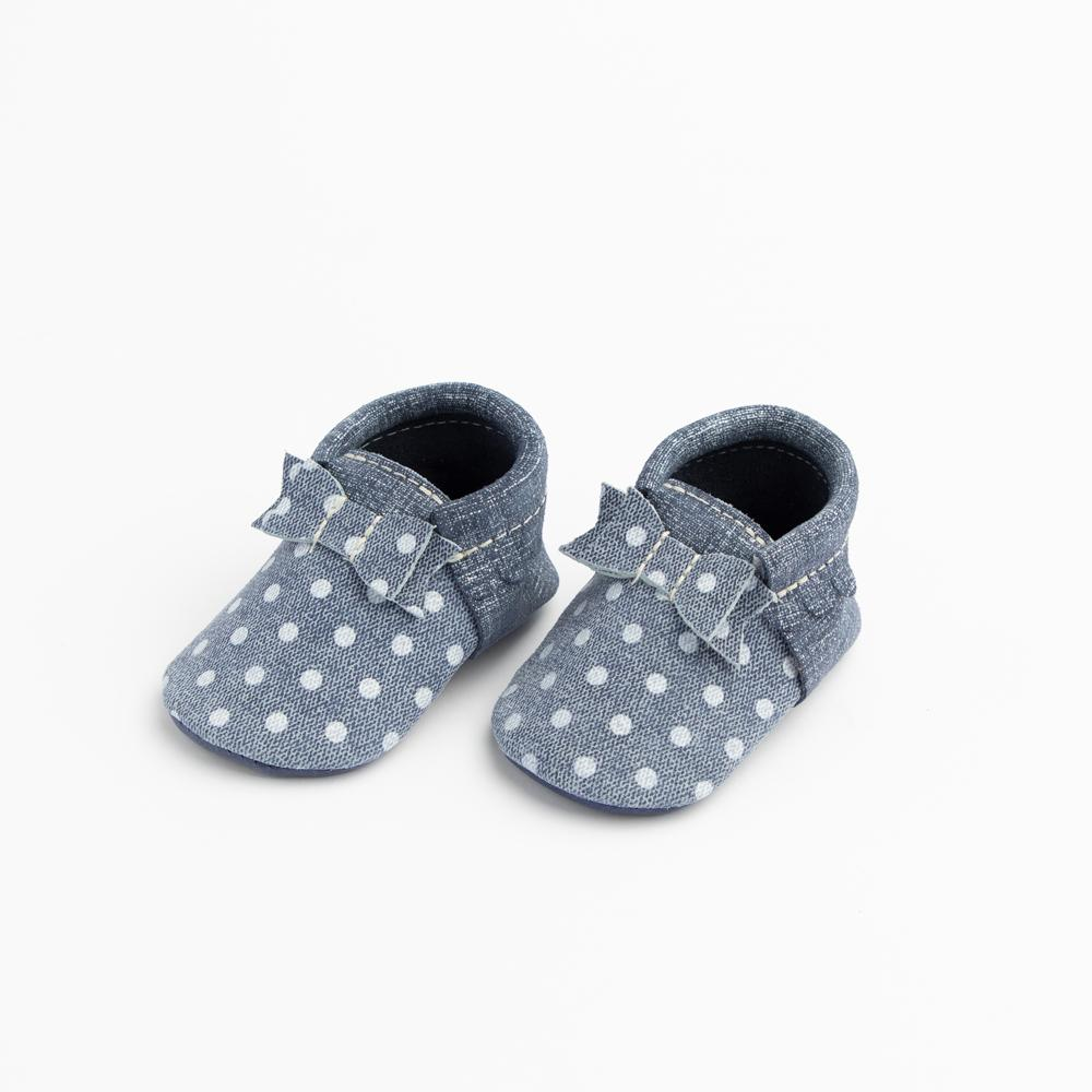 Indigo Denim Polka Dots Bow Mocc