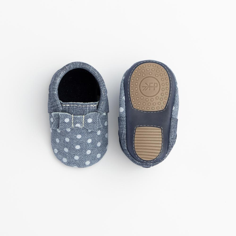 Indigo Denim Polka Dots Bow Mocc Mini Soles Mini Sole Bow Moccasin Mini soles