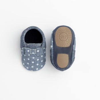 Indigo Denim Polka Dots Bow Mocc Mini Soles
