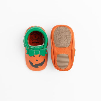 Jack O' Lantern Bow Mocc Mini Sole Mini Sole Bow Moccasin mini soles