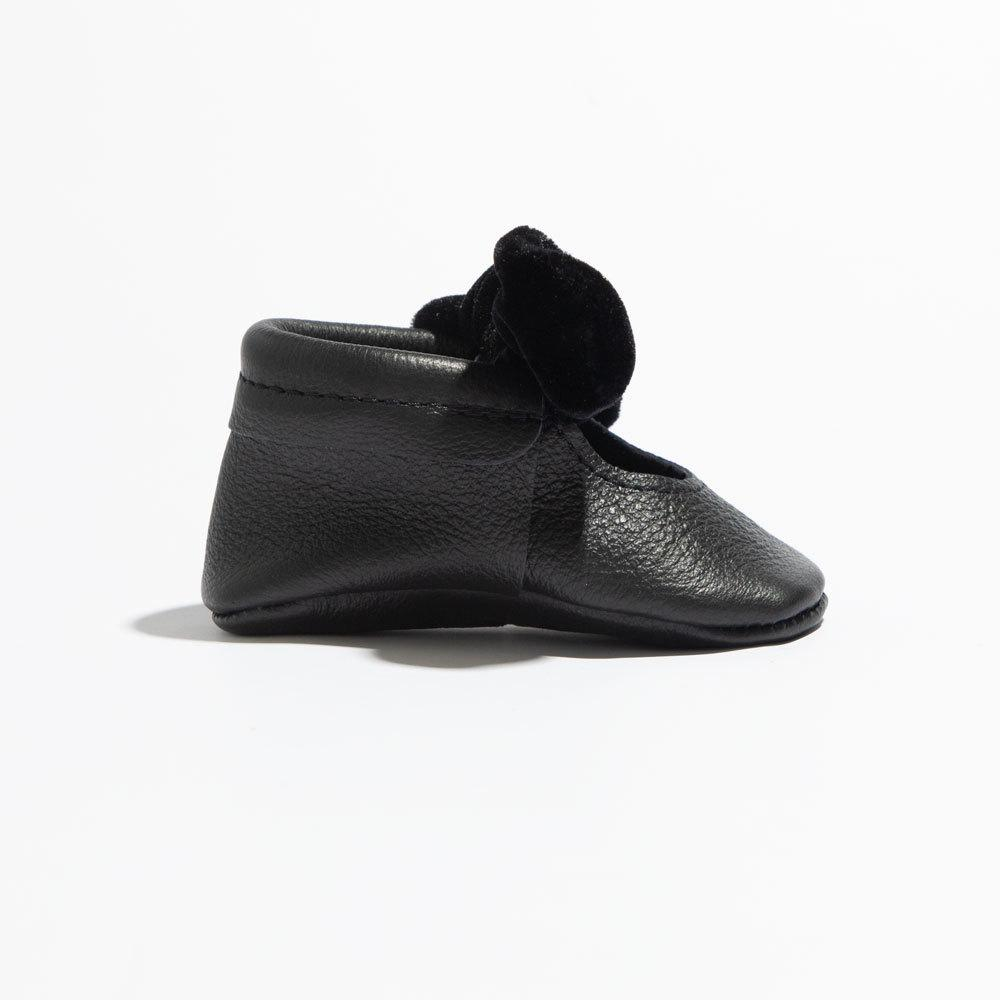 Black Velvet Knotted Bow Mocc Mini Sole knotted bow mocc mini soles