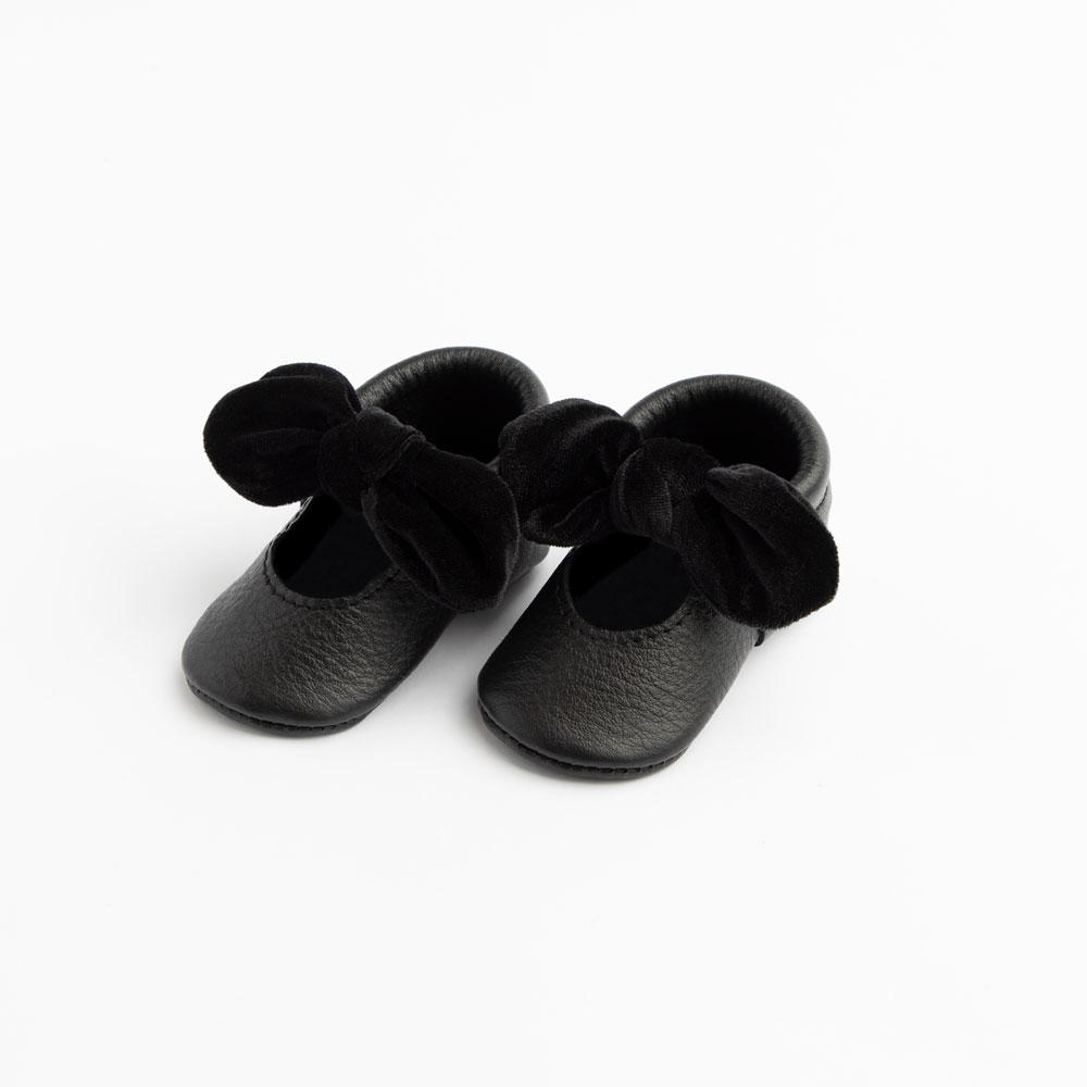 Newborn Black Velvet Knotted Bow Mocc knotted bow mocc Soft Soles