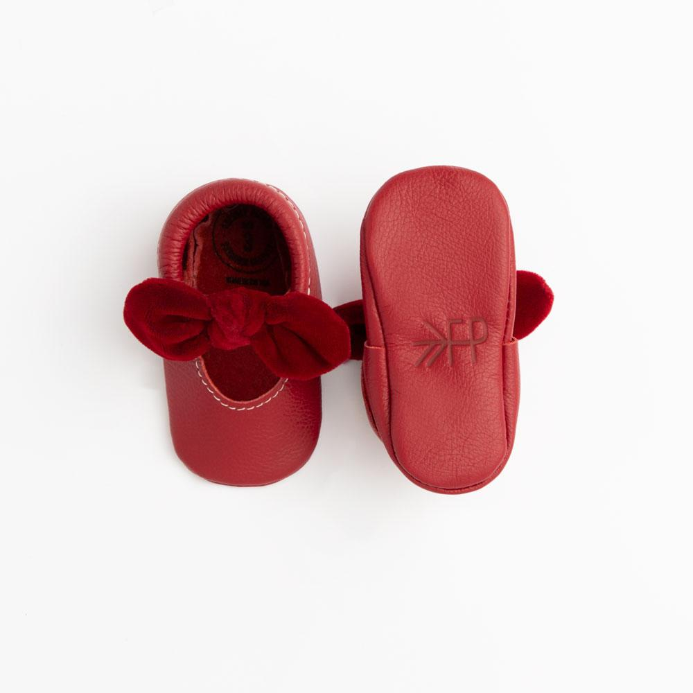 Newborn Red Velvet Knotted Bow Mocc newborn knotted bow mocc Soft Soles