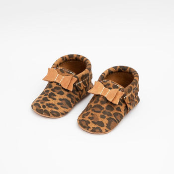 Leopard with Cedar Bow Mocc Bow Moccasins Soft Soles