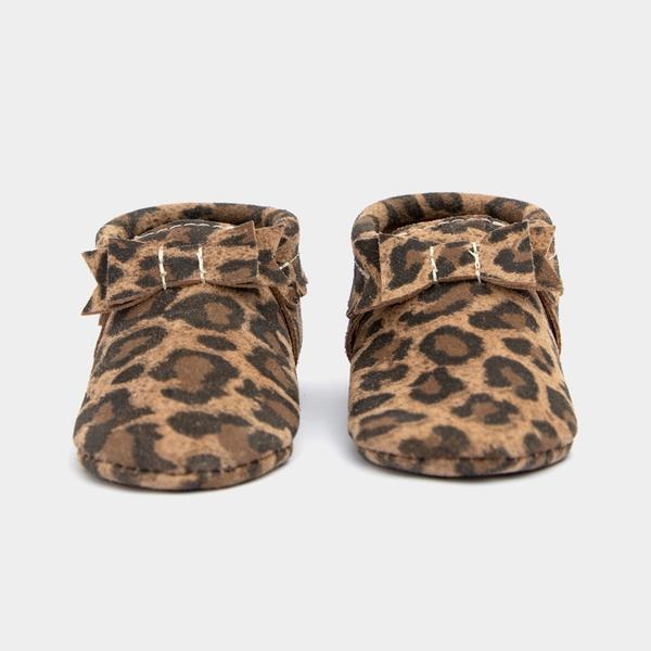Leopard Bow Mocc Mini Sole Mini Sole Bow Moccasin mini soles