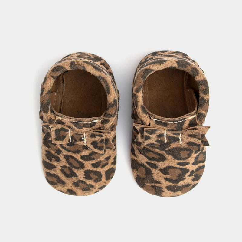 Leopard Bow Mocc Bow Moccasins Soft Soles