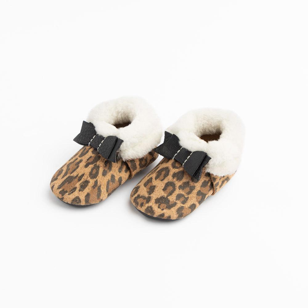 Leopard Shearling Bow Mocc Bow Moccasins Soft Soles