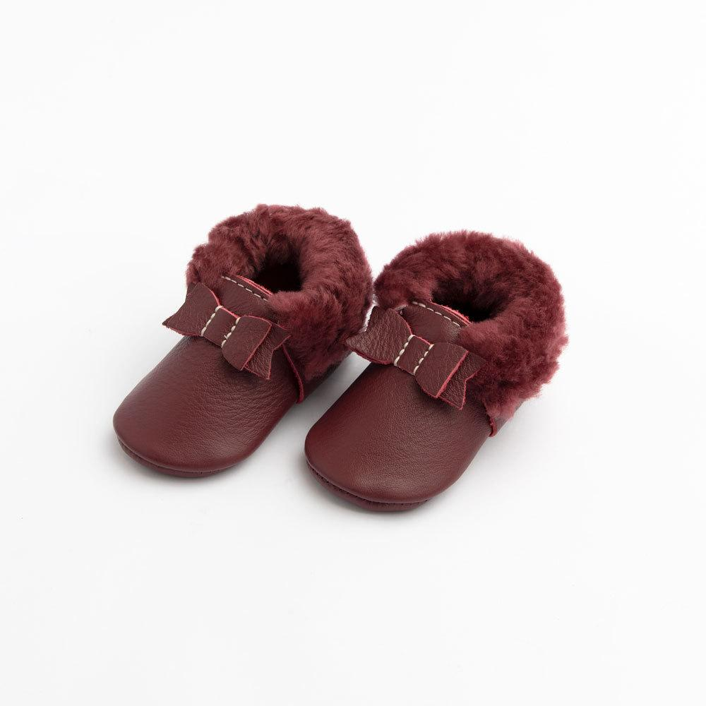 Merlot Shearling Bow Mocc Mini Sole Mini Sole Shearling Bow Mocc mini soles
