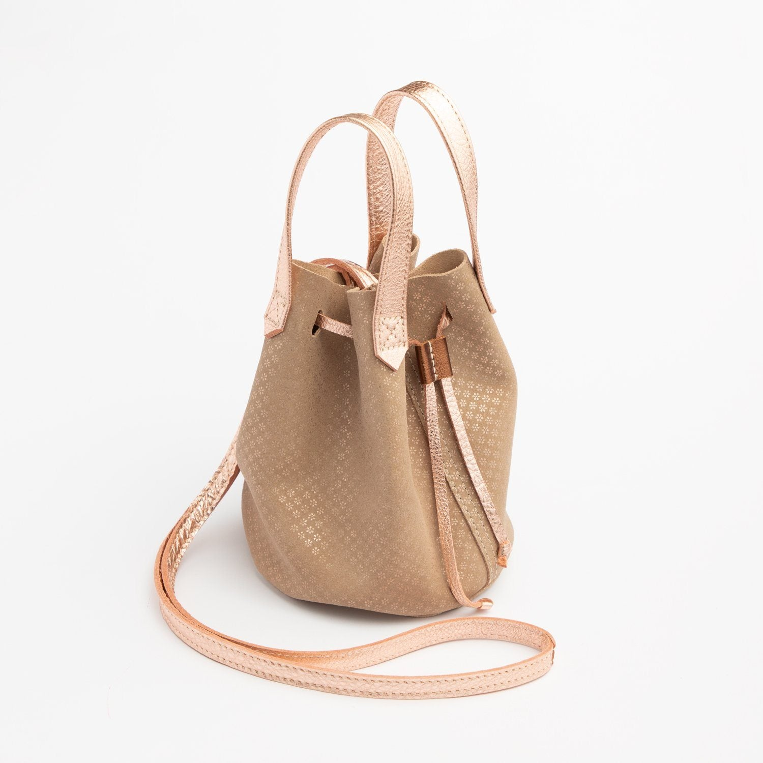 Metallic Daisy Suede Bucket Bag