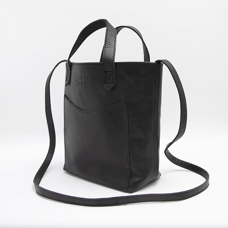 Onyx Leather Mini Tote