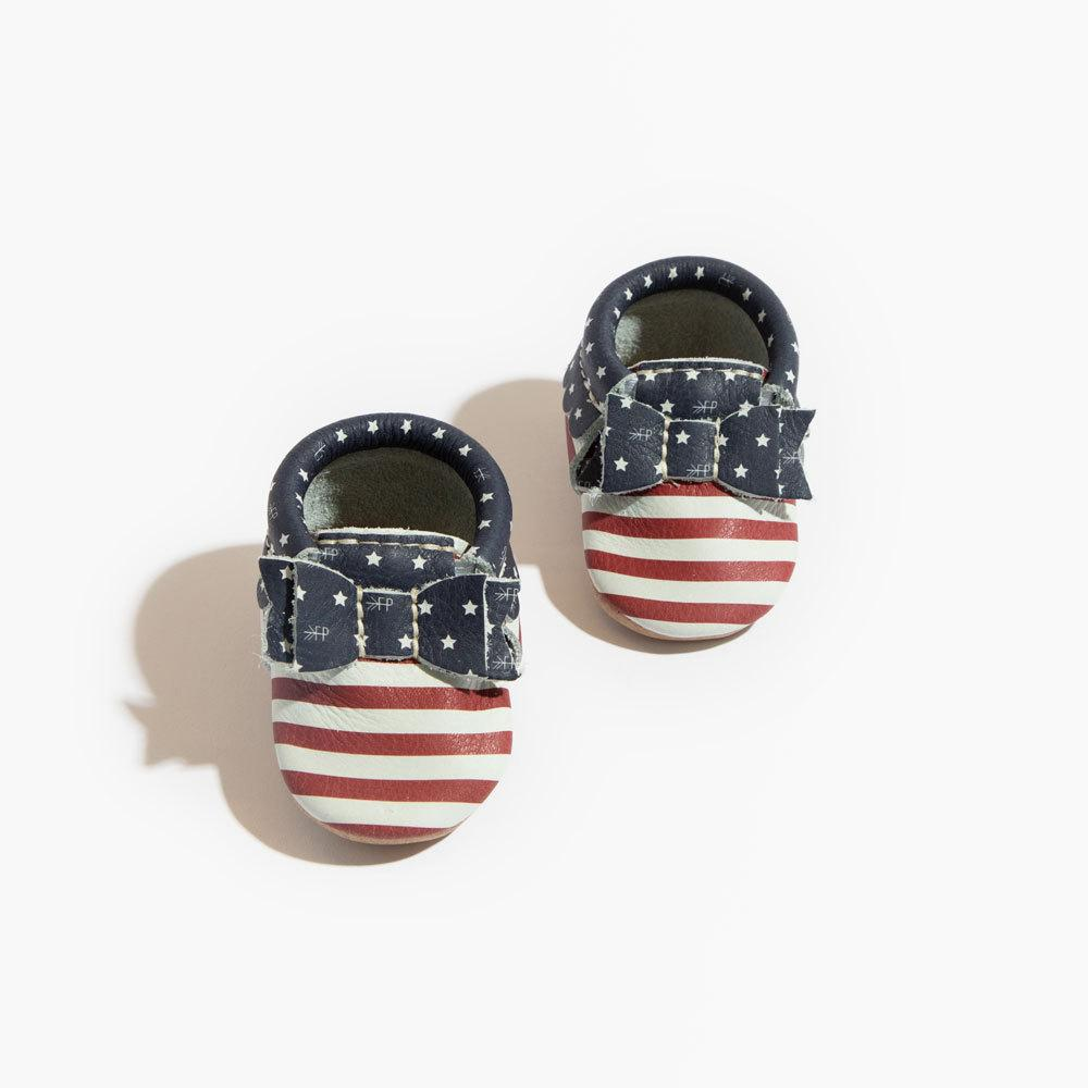 Newborn Born in the USA Bow Mocc Newborn Bow Mocc Soft Soles