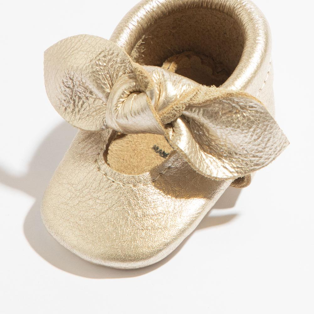 Newborn Platinum Knotted Bow Mocc newborn knotted bow mocc Newborn