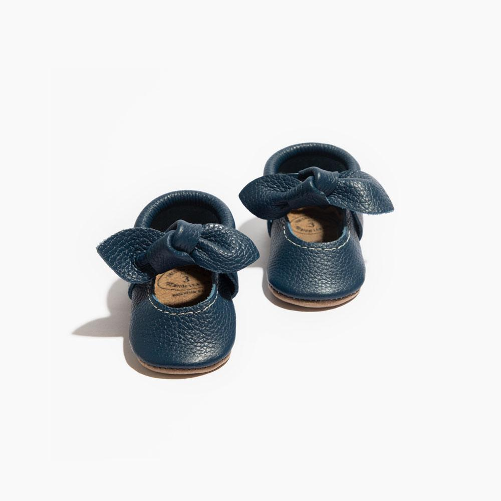 Newborn True Navy Knotted Bow Mocc Knotted Bow Mocc Newborn