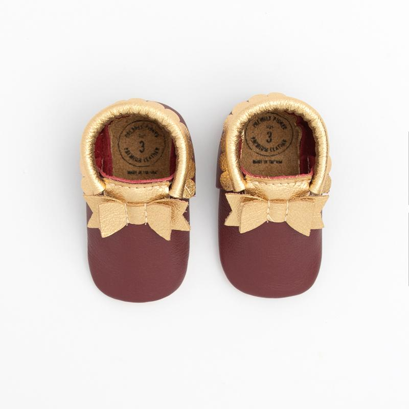 Burgundy and Gold Bow Mocc Bow Moccasins Soft Soles