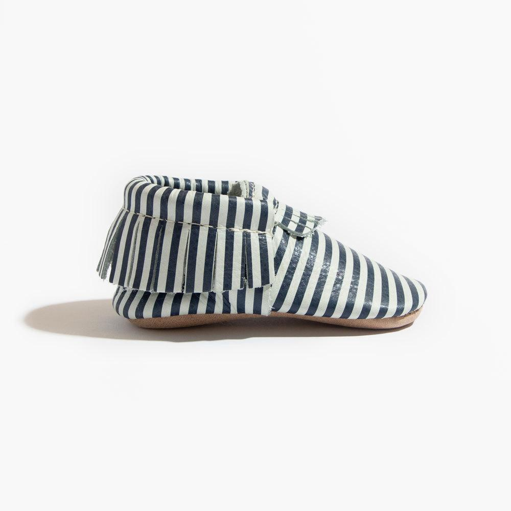 Navy and White Stripes Moccasins Soft Soles