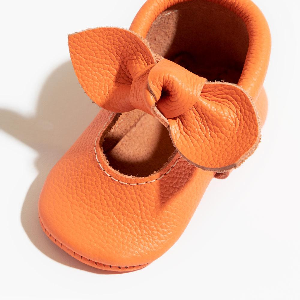Neon Coral Knotted Bow Mocc Mini Sole mini sole knotted bow mocc mini sole