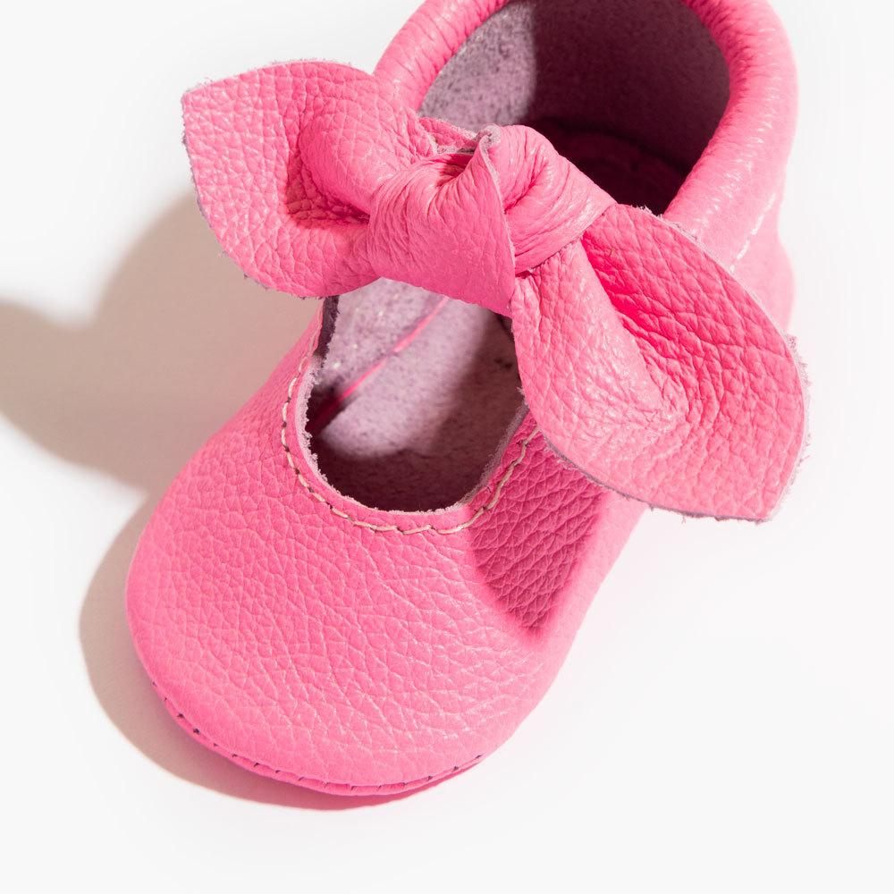 Neon Pink Knotted Bow Mocc knotted bow mocc Soft Soles