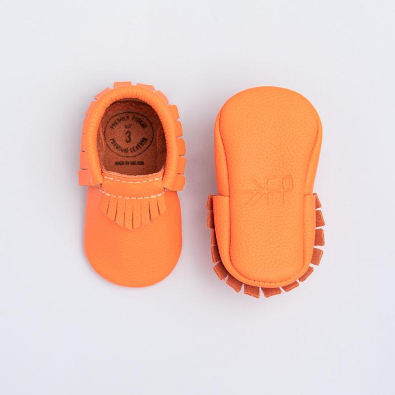 Neon Coral Moccasins Soft Soles