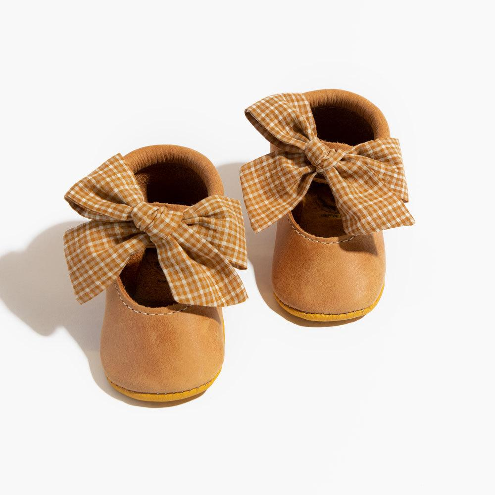Ochre Plaid Ballet Flat Bow Mocc Mini Sole Ballet Flat Bow Mocc mini sole