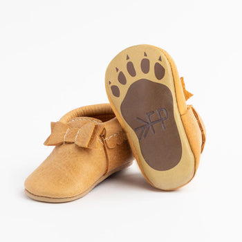 Paw Print Bow Mocc Bow Moccasins Soft Soles
