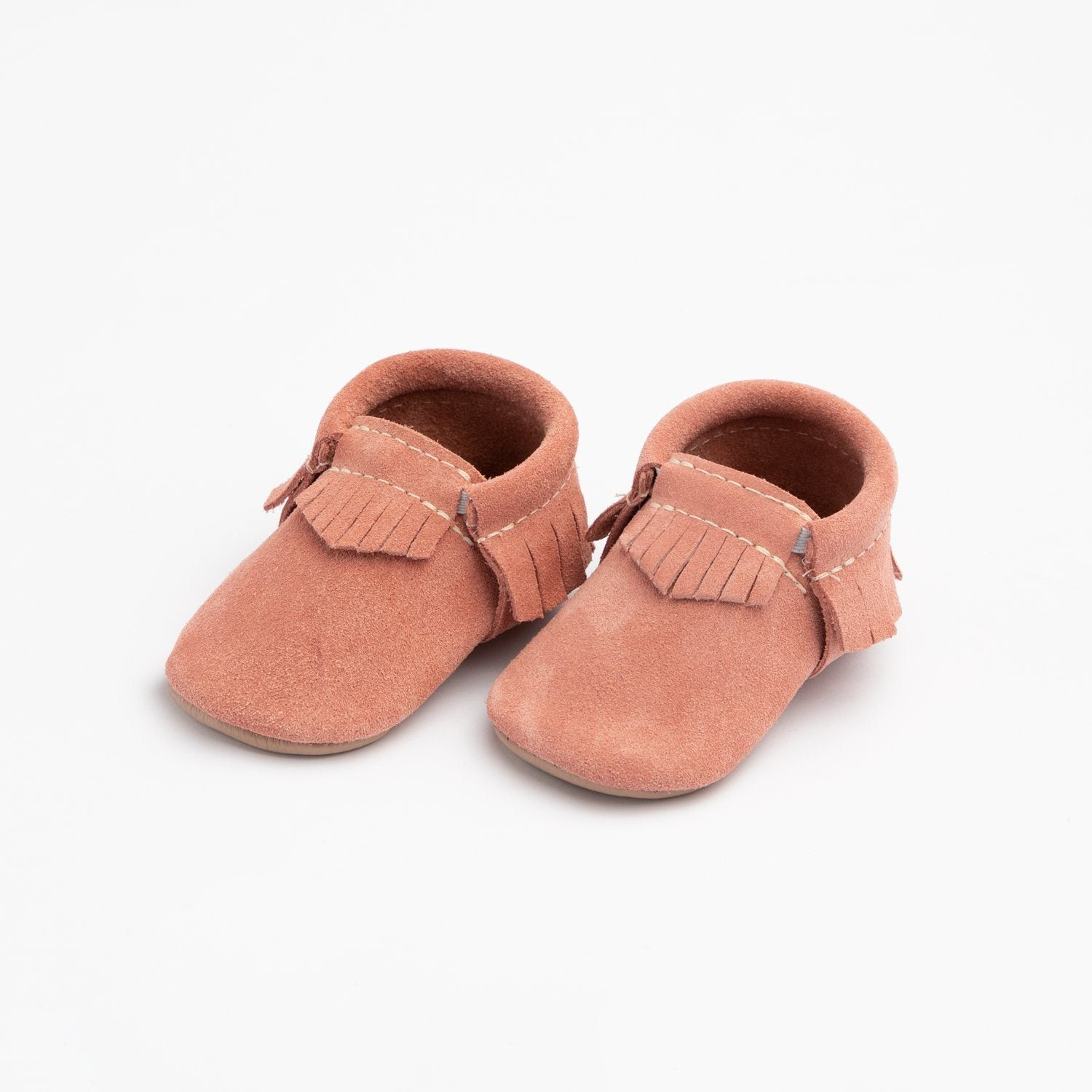 Peachy Pink Suede Moccasins Soft Soles