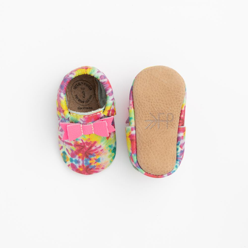Pink and Yellow Tie Dye Bow Moccasins Soft Soles