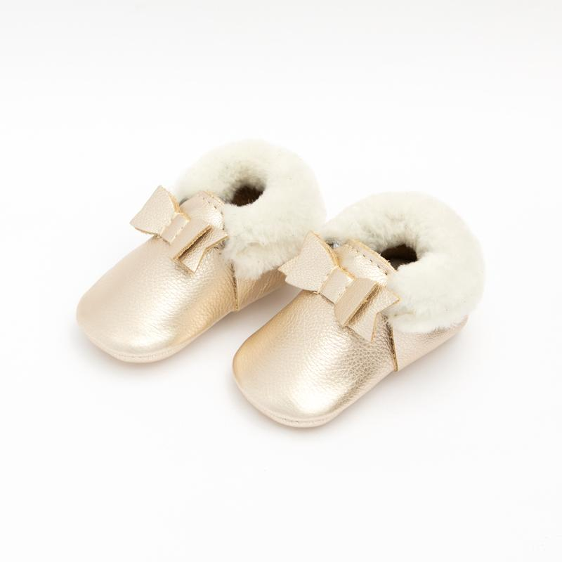 Platinum Shearling Bow Mocc Mini Sole