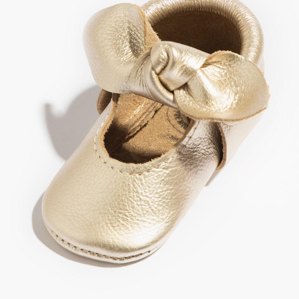 Platinum Knotted Bow Mocc knotted bow mocc Soft Sole
