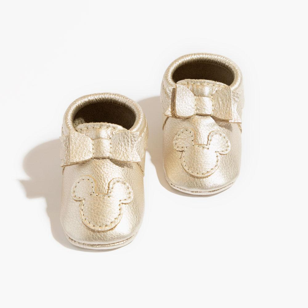 Platinum Mickey Mouse Bow Mocc Bow Moccasins Soft Soles