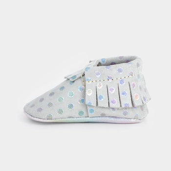 Rainbow Dots Moccasins Soft Soles