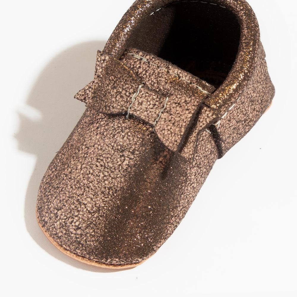 Razzle Rose Gold Bow Mocc Bow Moccasins Soft Soles