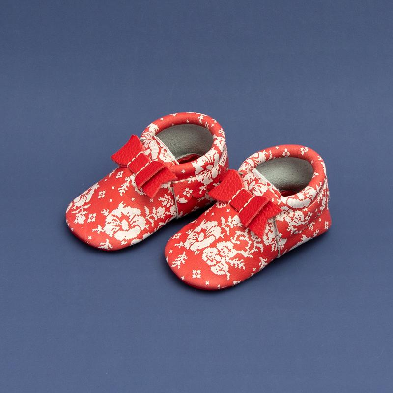 Red Floral Sweater Bow Mocc Bow Moccasins Soft Soles
