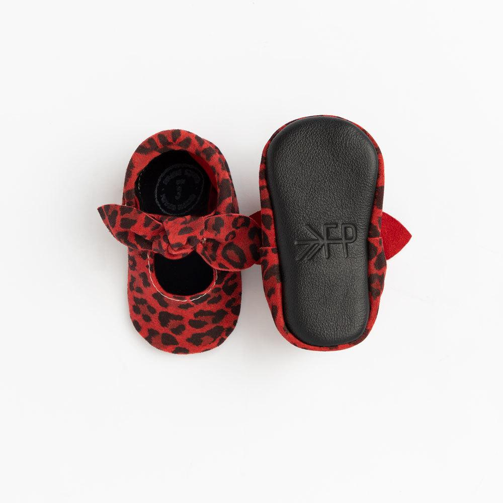 Red Leopard Knotted Bow Mocc knotted bow mocc Soft Soles