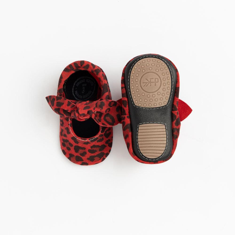 Red Leopard Knotted Bow Mocc mini sole knotted bow mocc mini soles
