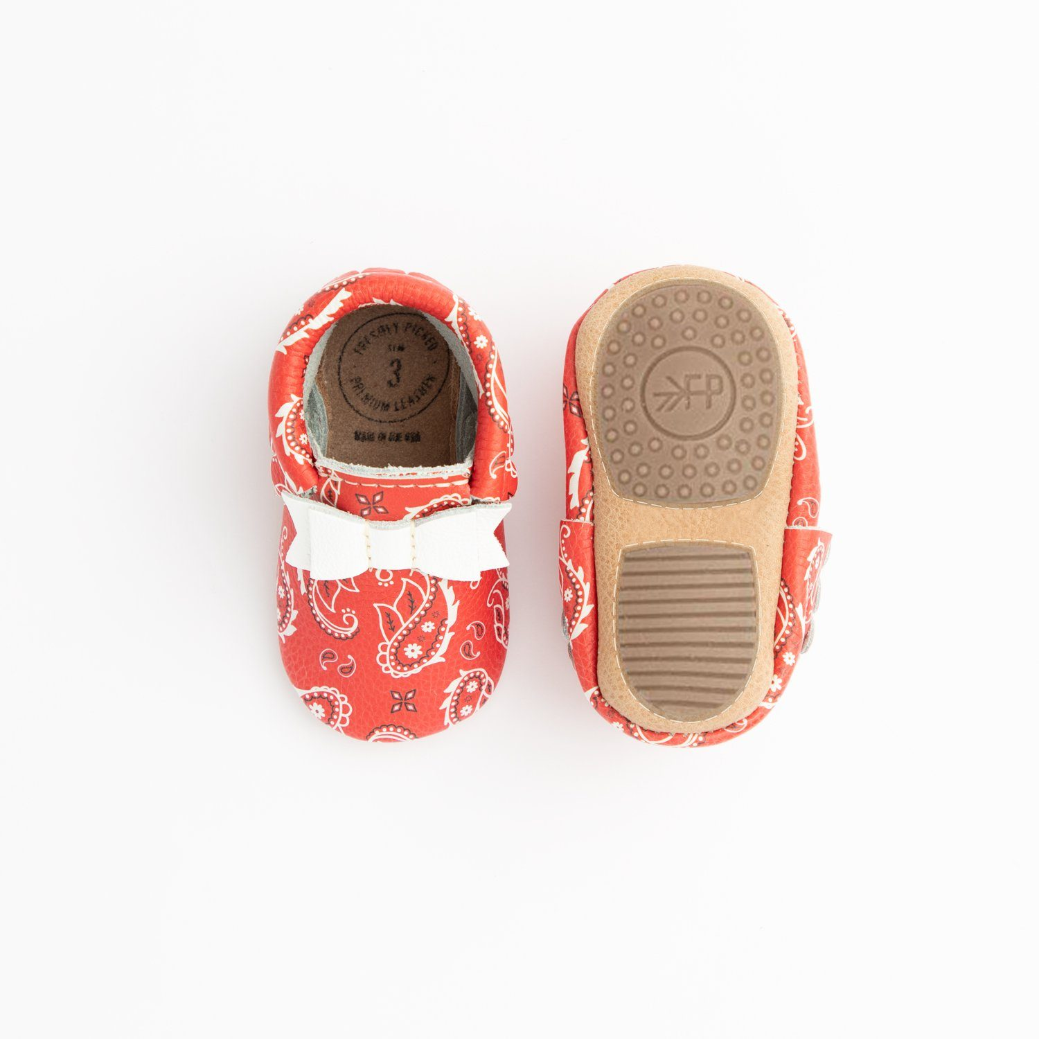 Red Bandana Bow Mocc Mini Sole Mini Sole Bow Moccasin Mini soles