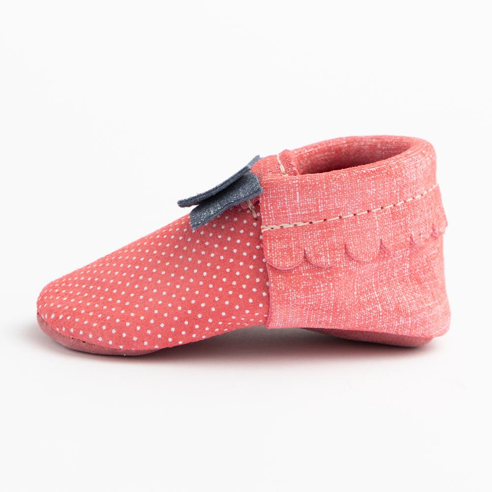 Red Denim Polka Dots Bow Mocc Bow Moccasins Soft Soles