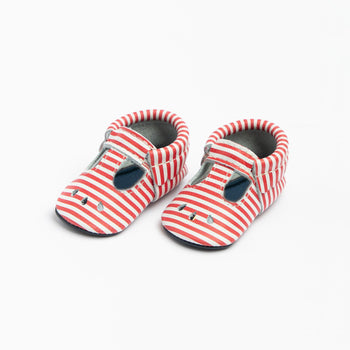 Red and White Stripe Mary Jane Mary Janes Soft Soles