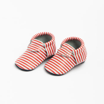 Red and White Stripes Moccasins Soft Soles